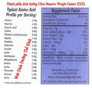 Thành phần dinh dưỡng, Ultra Massive Weight Gainer XXXL