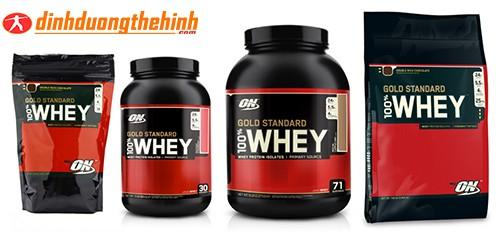 Sản phẩm Whey Gold Standard gồm có 4 trọng lượng 1lbs. 2lbs,5lbs,10lbs