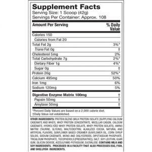 Giá trị dinh dưỡng Whey Phase 8