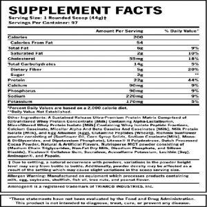 Giá trị dinh dưỡng Syntha 6 10lbs