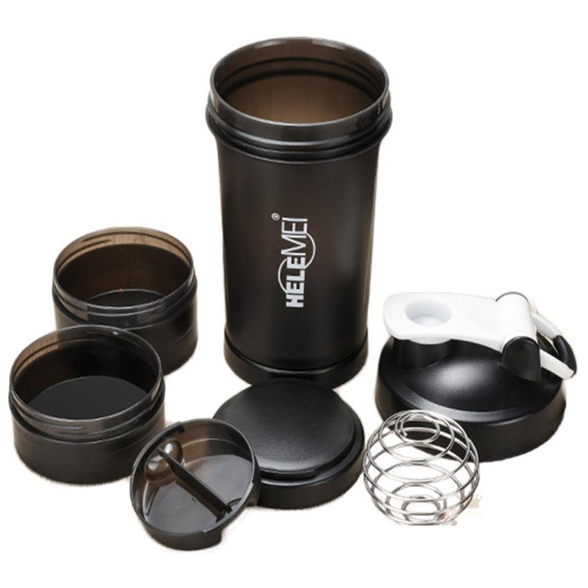 Helemei Pro Shaker 650ml, 4 ngăn