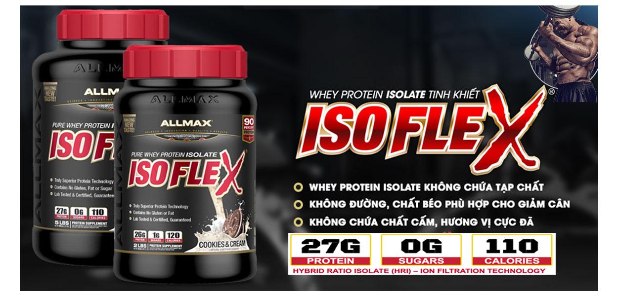 AllMax IsoFlex 5lbs (2,3kg) Chính hãng -100%Whey Protein Isolate