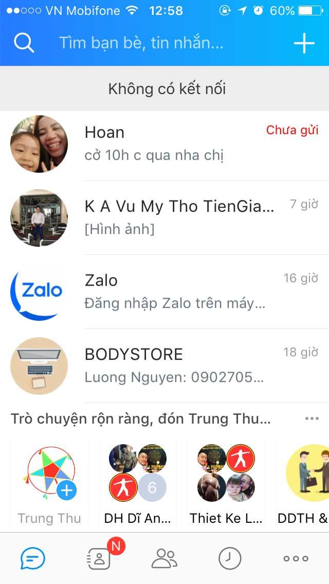 Zalo bị lỗi không vào được 23/09/2018 Trên App Mobile báo không có kết nối