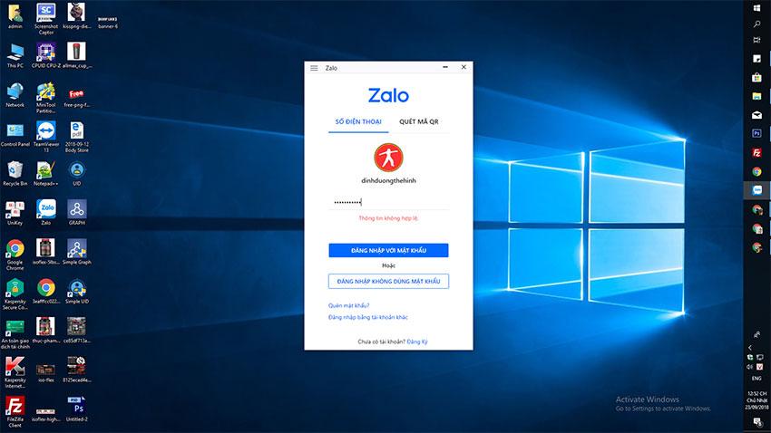 Zalo bị lỗi không vào được 23/09/2018 Trên PC thì tất cả các tải khoản bị thoát ra và hông thể đăng nhập lại được.