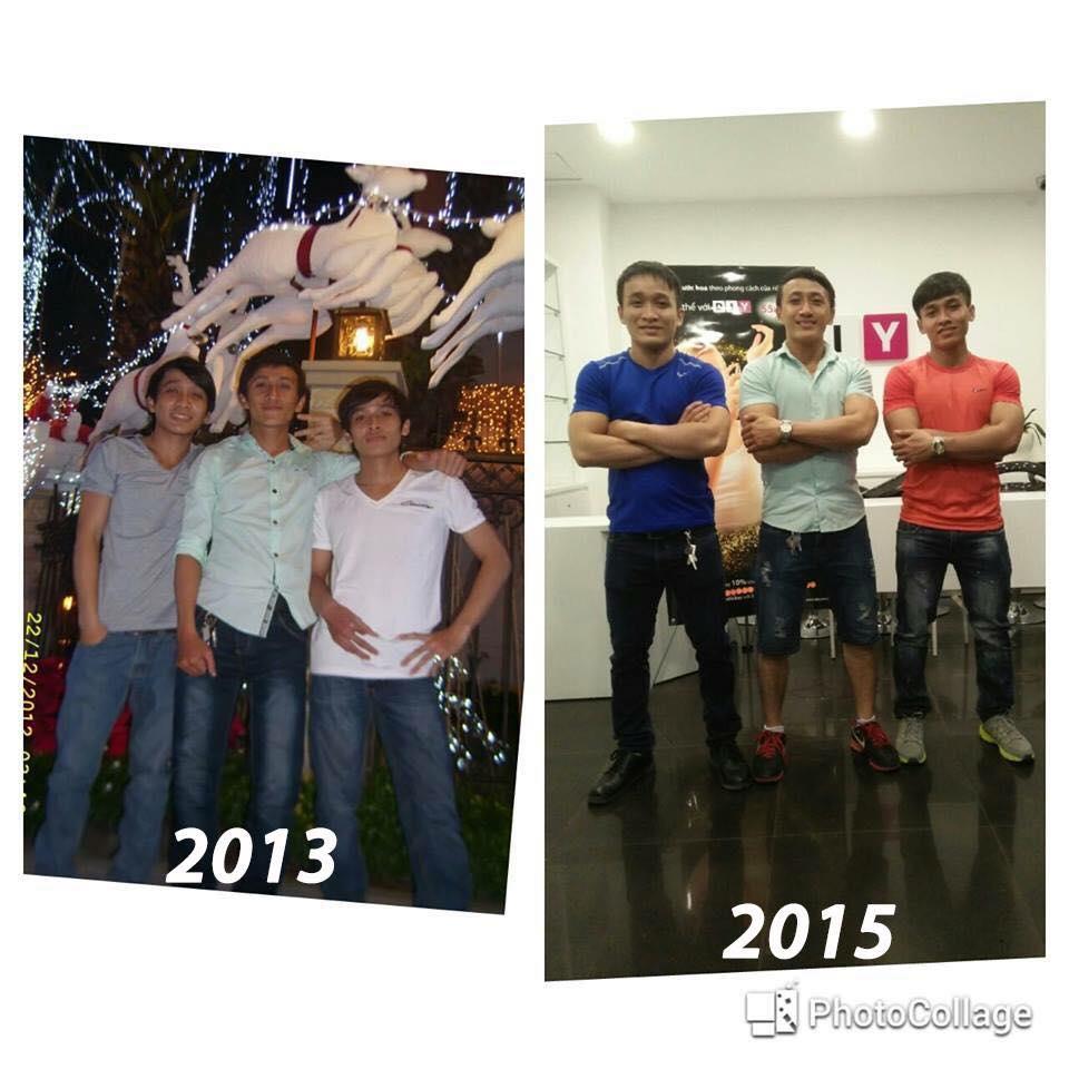 Hình ảnh thay đổi của 3 anh em Yêu Thể Hình Đẹp - Dinh Dưỡng Thể Hình Team !